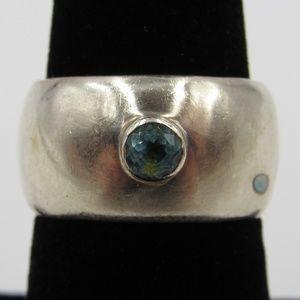 Vintage Size 6.5 Sterling Rustic Blue Topaz Ring